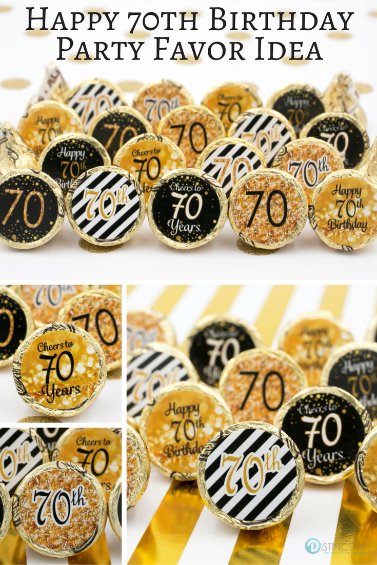 Black And Gold 70th Birthday Party Favor Stickers 180