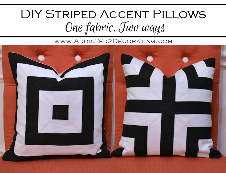 DIY Black White Striped Accent Pillows One Fabric Two Ways Amazing Black And White Striped Decorative Pillows