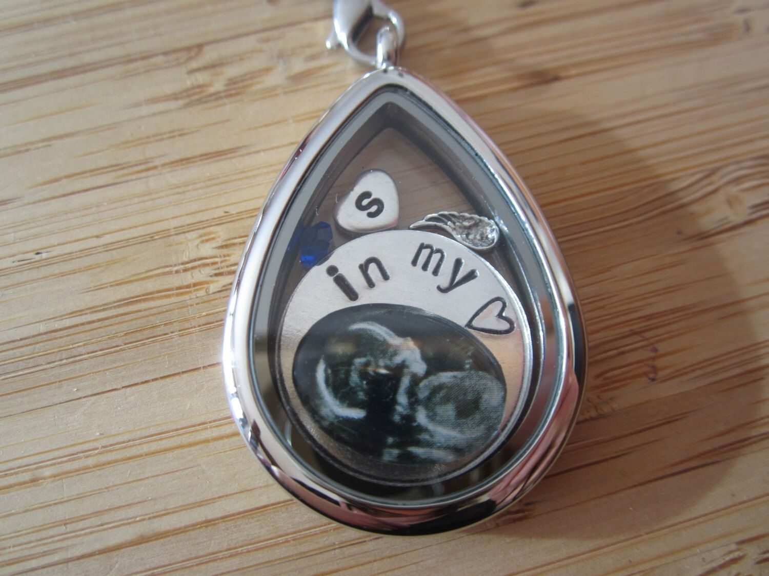 Miscarriage stillborn ultrasound photo charm with stamped disc for miscarriage stillborn ultrasound photo charm with stamped disc for floating locket memorial remembrance jewelry grief aloadofball Images