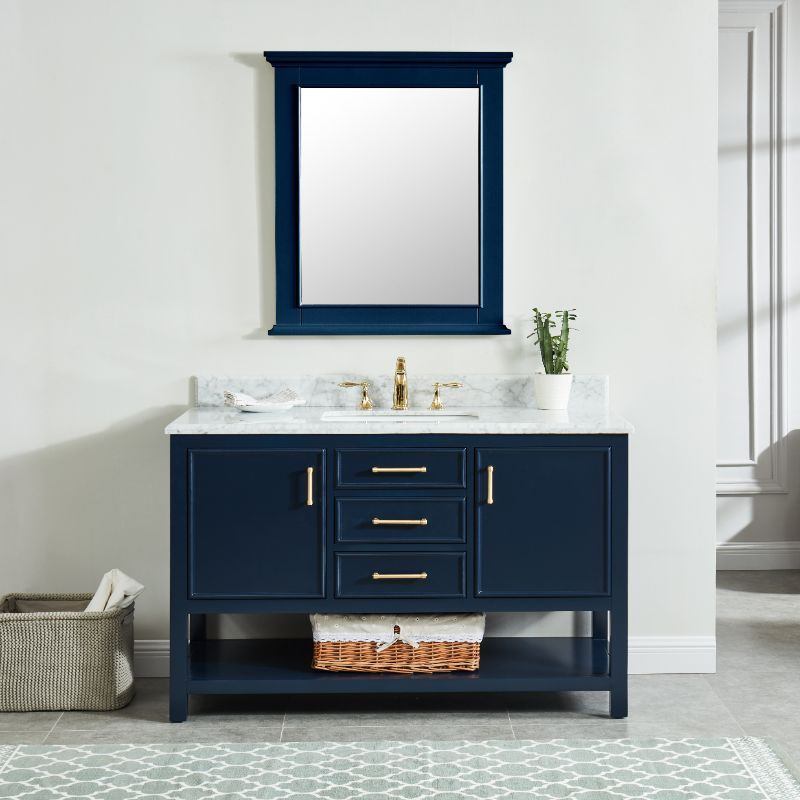 Wilora North Harbor Navy Blue Freestanding Cabinet W Single Basin Integrated Sink And Co In 2020 Single Sink Bathroom Vanity Blue Bathroom Vanity Bathroom Sink Vanity
