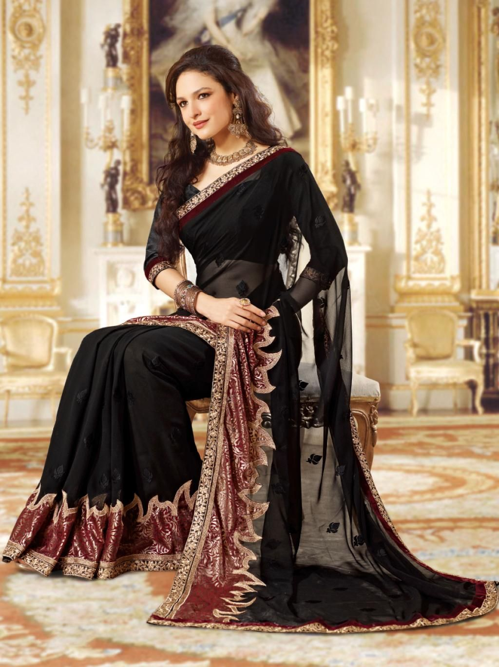 0b766b9a36 Black Faux Georgette Embroidered Party Wear Saree 23114 | Party Wear ...