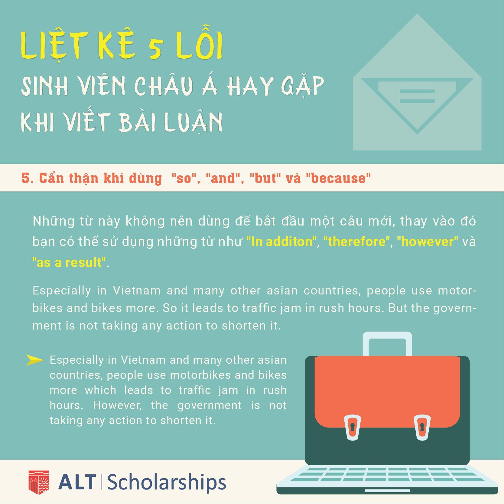 """Sinh Viên Châu Á nên Cẩn thận khi dùng """"so"""", """"and"""", """"but"""" và """"because""""  Tìm hiểu các chương trình học bổng của Trung Tâm ALT, vui lòng đăng ký tại: http://bit.ly/scholarship-students"""