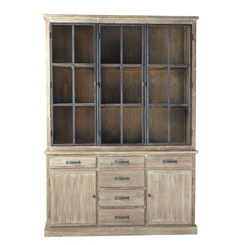 Free copenhague houten servieskast with industriele for Buffetkast industrieel