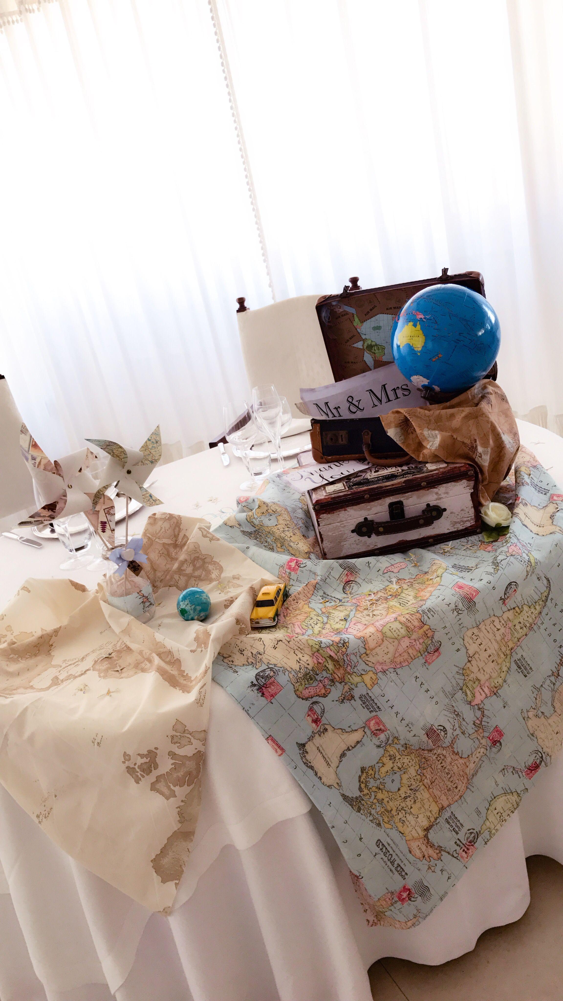 Auguri Matrimonio Tema Viaggio : Allestimento tavolo sposi a tema viaggi decorazioni per