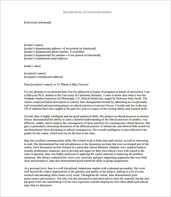 8+ Letters of Recommendation for Teacher u2013 Free Sample, Example - free template for letter of recommendation