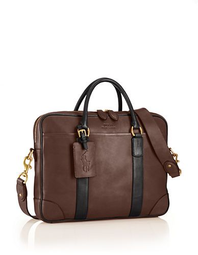 Polo Ralph Lauren Two-Toned Leather Commuter Bag Men s Mahogany ... a060e00014