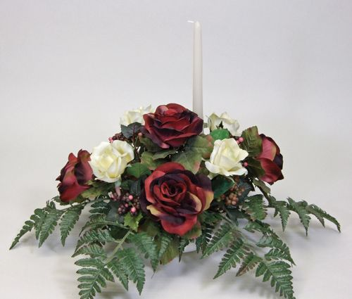 Superb Flower Arrangements Centerpieces | SILK HORIZONTAL BANQUET TABLE CENTERPIECE