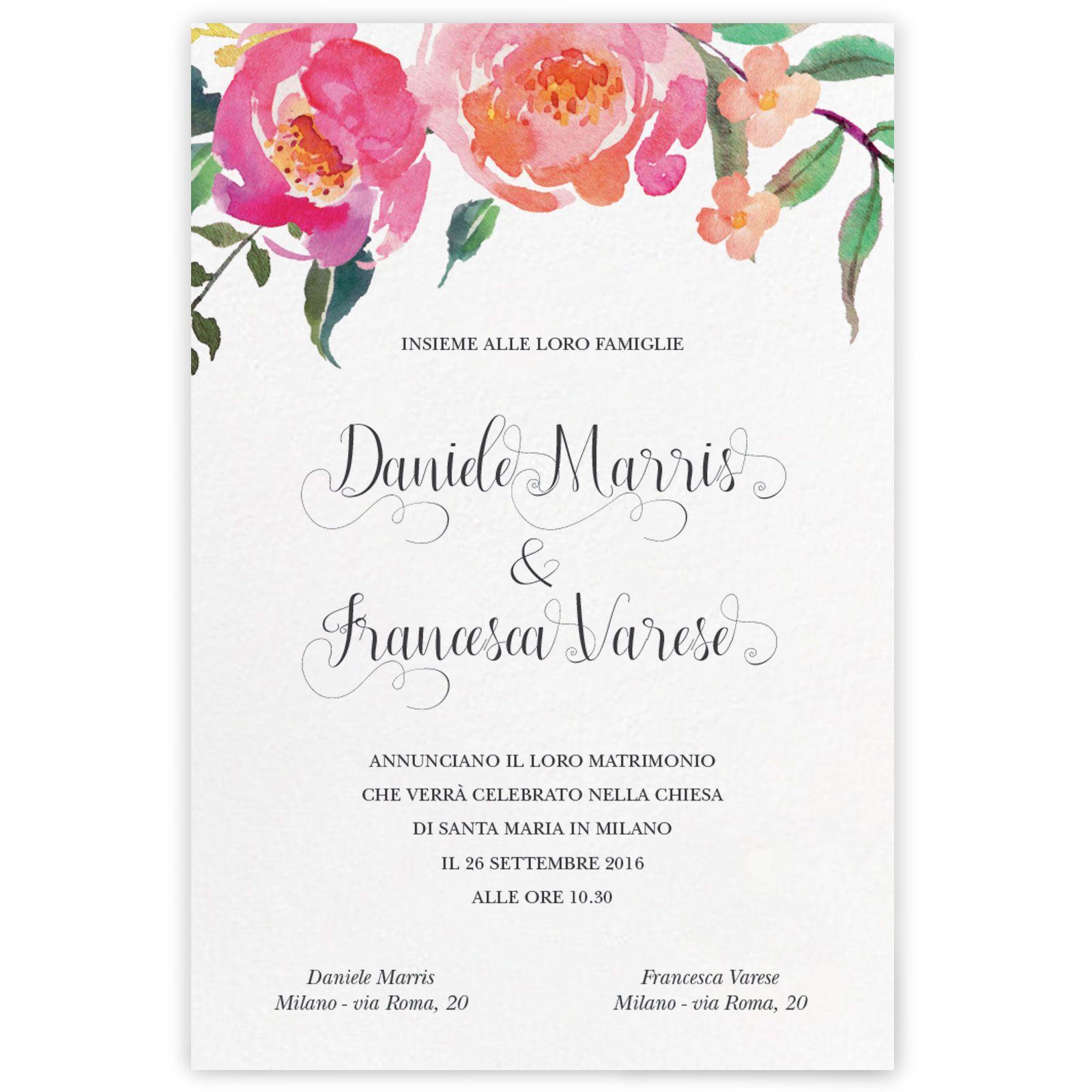 Partecipazione Di Matrimonio Dallo Stile Rustico Impreziosita Da Un Motivo Floreale Effetto Hand Matrimonio Elegante Matrimonio Partecipazione Di Matrimonio