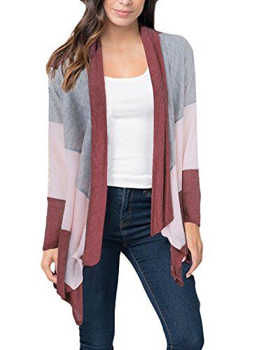 CoCo fashion Women s Three-color Stitching Long Sleeve Irregular Casual  Cardigan Thin Coat Blouses ab7479a9d