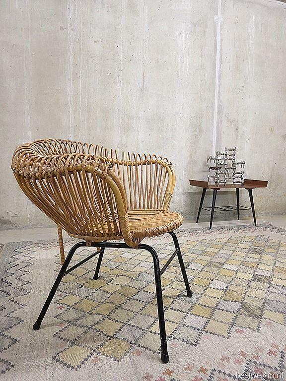 Vintage Rohe Stoel.Mid Century Dutch Design Rotan Chairs Rohe Noordwolde Rotan Stoel
