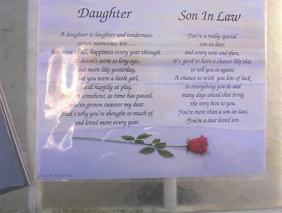 funeral poems FOR SON INLAW Daughter and Son-inlaw Poem Places to ...