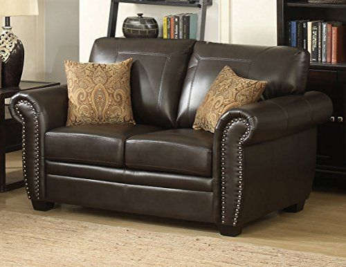 Brilliant Homeroots Traditional Brown Stationary Loveseat Sofas Andrewgaddart Wooden Chair Designs For Living Room Andrewgaddartcom