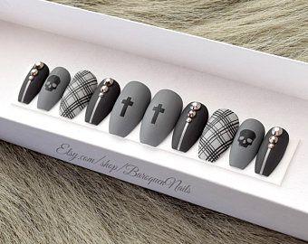 Photo of Cauldron • Silver Metal Drip Nails | Matte Black Press On Nails Accent Nail Art | Glue On Nails | Fake Nails | False Nails | Stiletto Nails