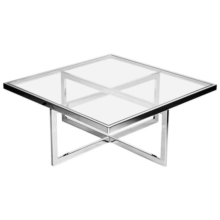 Italian Glass Coffee Table.Square Chrome And Brass Coffee Table Italy 1970s In 2019
