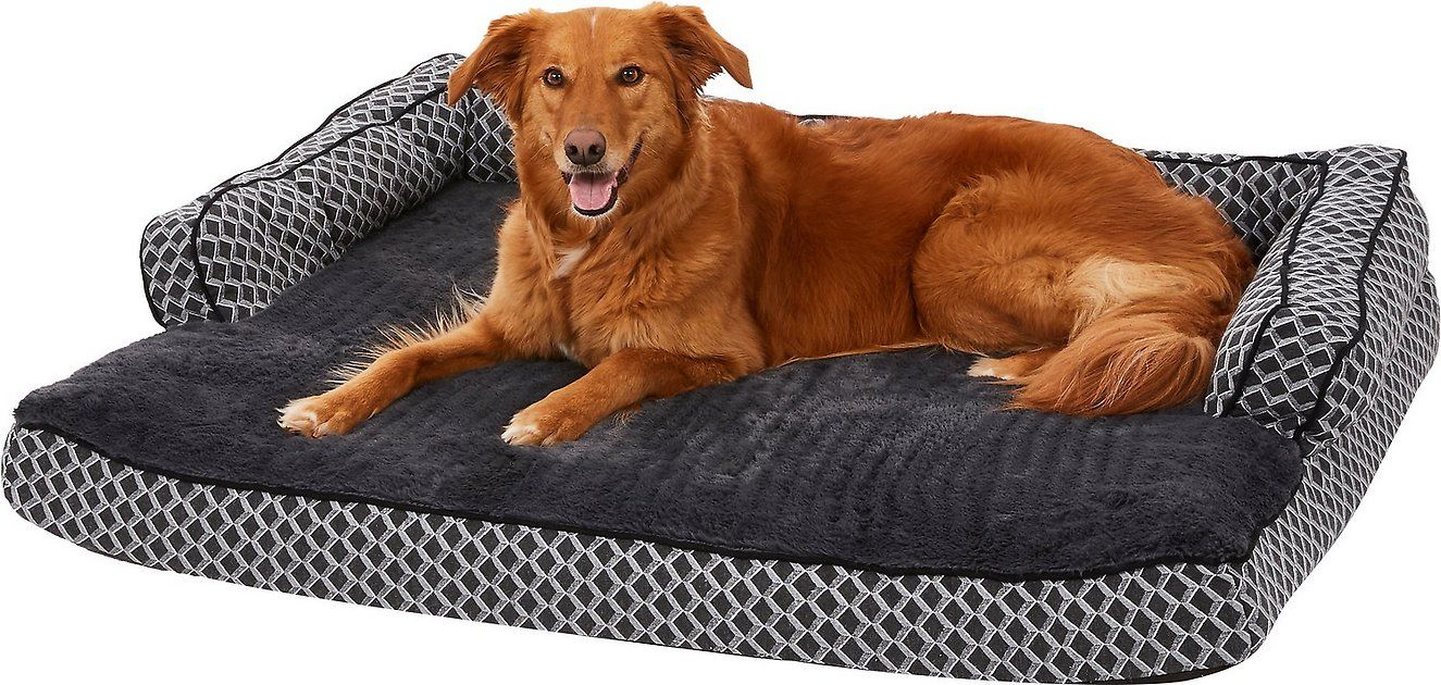Furhaven Comfy Couch Orthopedic Bolster Dog Bed W Removable Cover Diamond Brown Small Chewy Com Comfy Couch Dog Sofa Bed Cat Bed