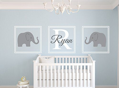 Elephant Name Wall Decal Set Nursery Wall Decor by Lovely Decals ...