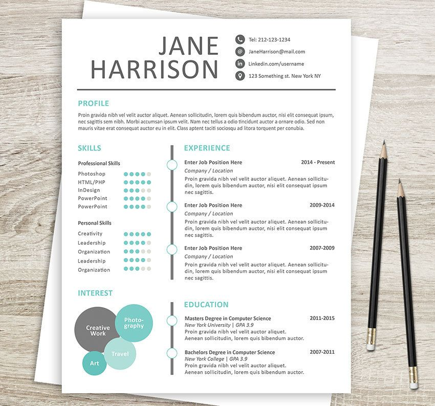 Creative Resume Template   Cover Letter  Word Resume Template
