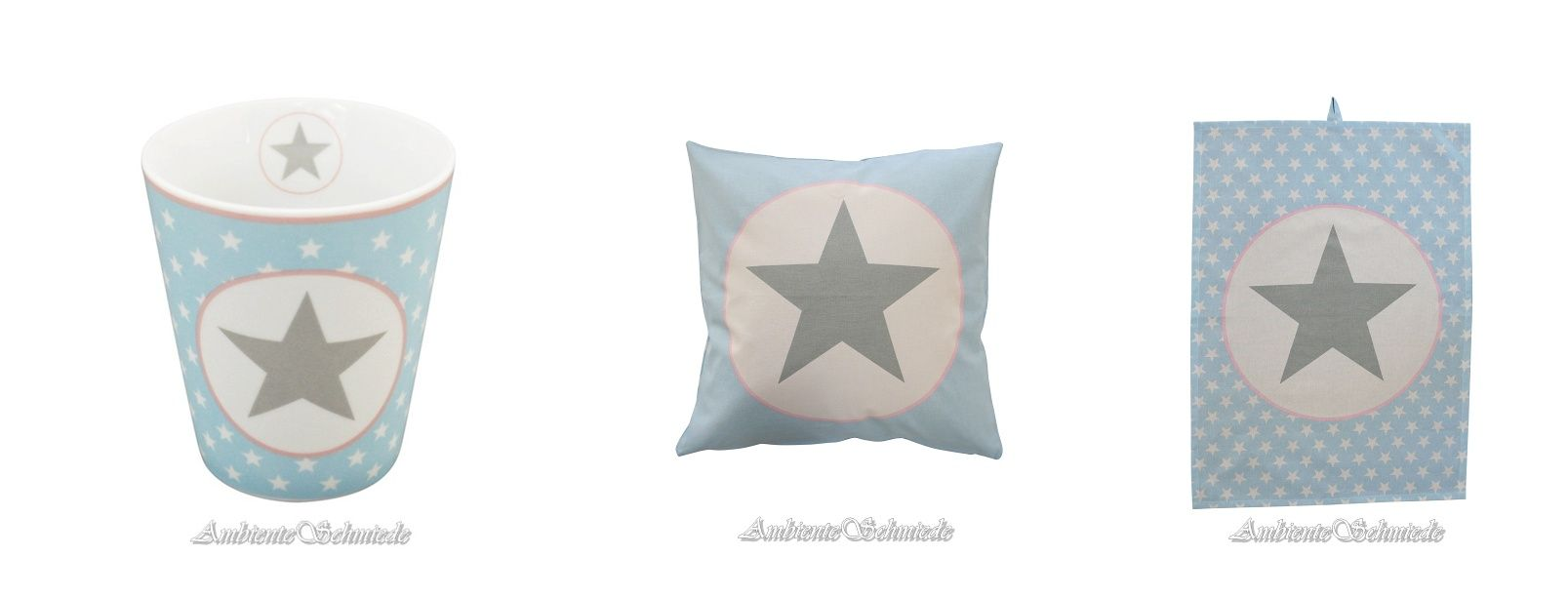 Krasilnikoff Big Star Stern Sterne hellblau mit hellgrau und rosa ...
