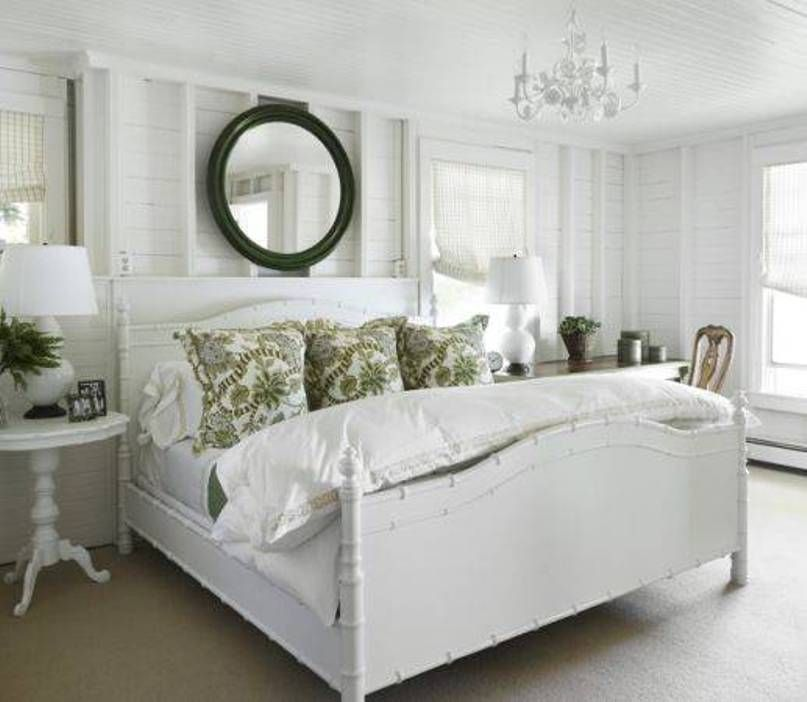 Bedroom , Comfy Master Bedroom Cottage Style : Master Bedroom Cottage Style  With Round Mirror Over