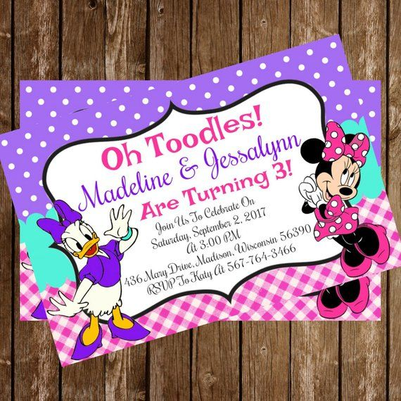 Daisy Duck And Minnie Disney Birthday Party Invitation Download 4 X 6
