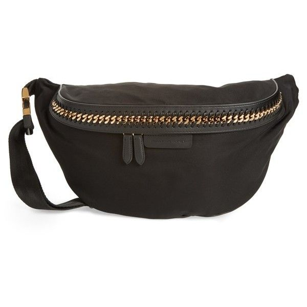 bb8930b15dc149 Women's Stella Mccartney Falabella Nylon Fanny Pack (2,755 AED) ❤ liked on  Polyvore featuring bags, black, belt fanny pack, waist fanny pack, ...