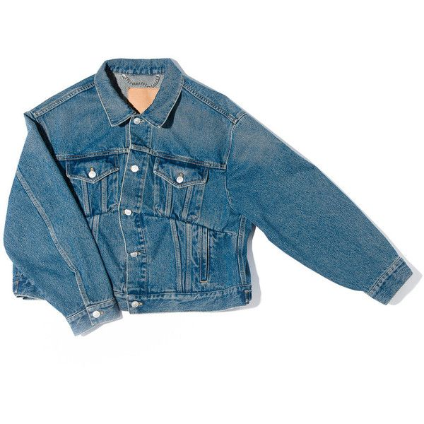 BALENCIAGA Swing Denim Jacket ❤ liked on Polyvore featuring outerwear, jackets, coats & jackets, denim jacket, balenciaga jacket, jean jacket, balenciaga and blue jackets