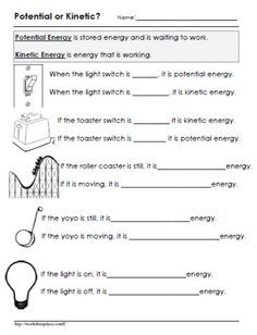 Potential or Kinetic Energy Worksheet | Free homeschool ...