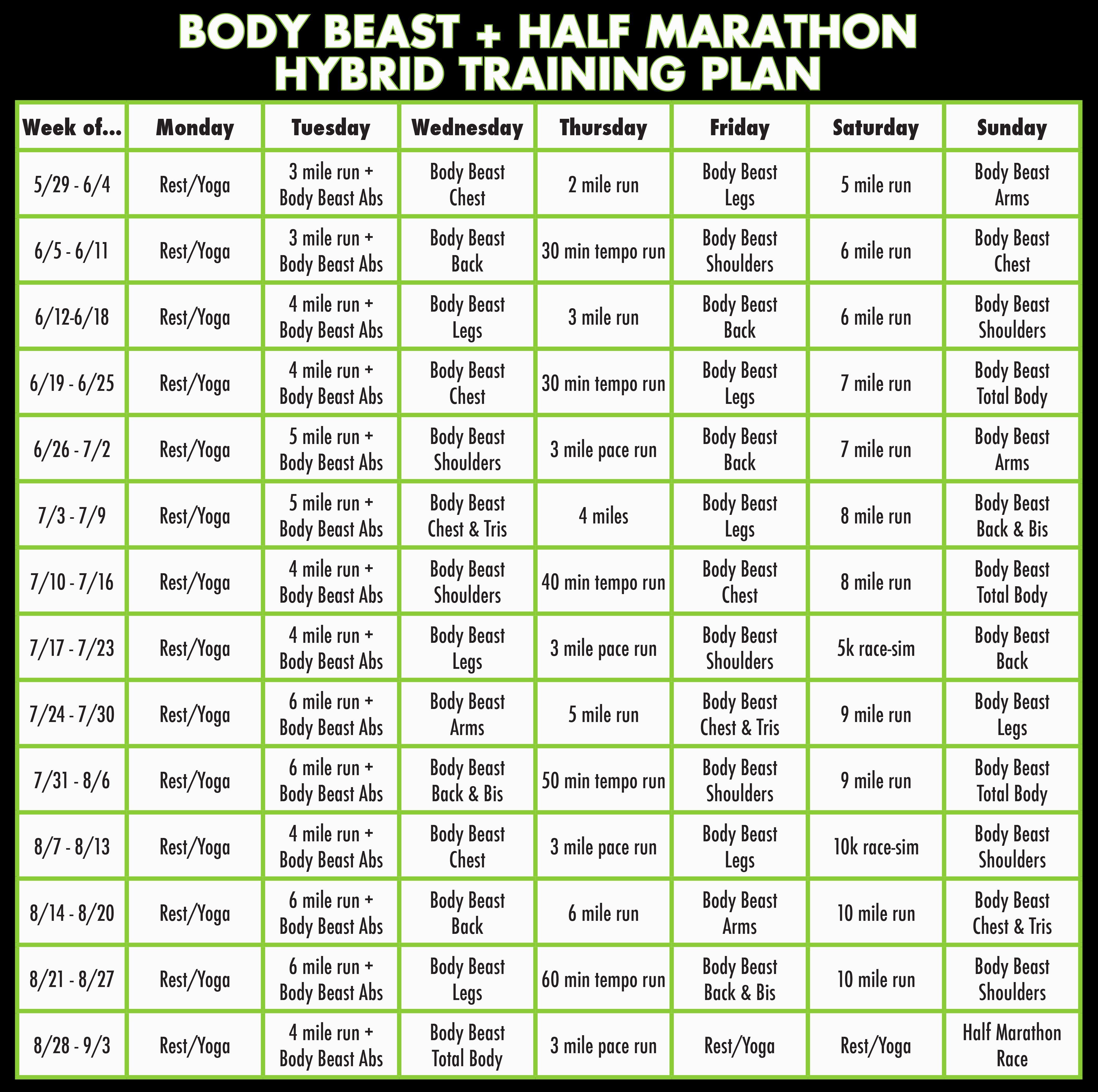 Body Beast  Half Marathon Hybrid Training Plan  Bearathon