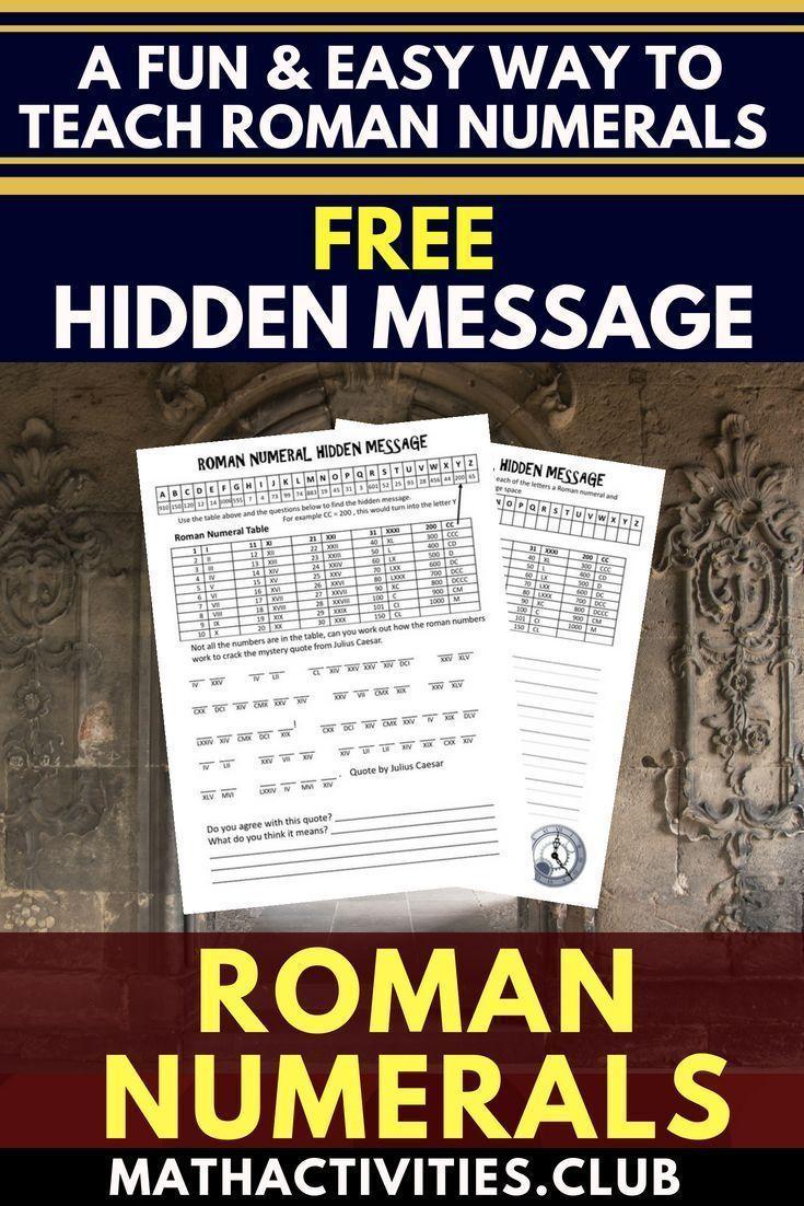Roman Numerals Activity Hidden Message Math Activities Club Math Activities Roman Numerals Free Math Lessons [ 1102 x 735 Pixel ]
