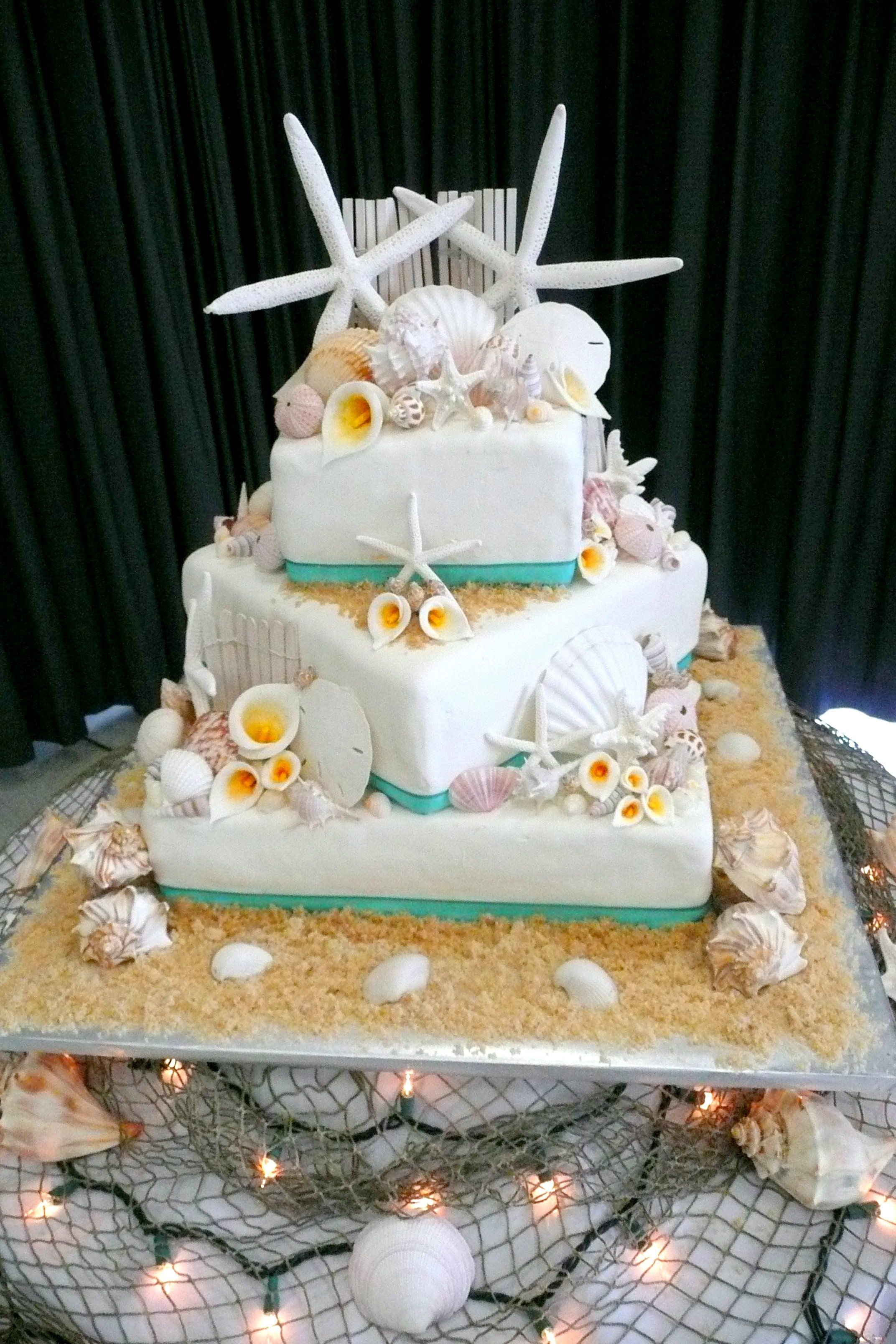 Beach Wedding Cake Like The Idea For The Cake Table With The