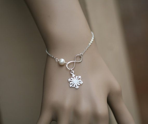 Snowflake braceletInfinity pearl braceletwinter wedding giftBest