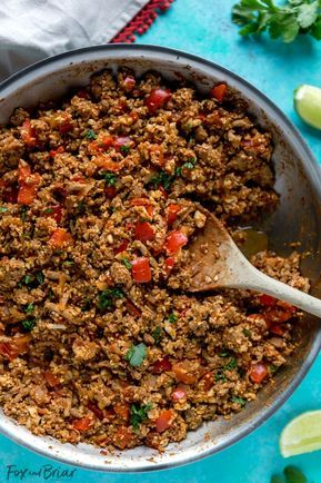 Cauliflower rice turkey taco skillet #groundturkeytacos