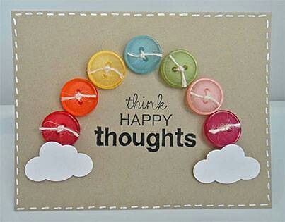 Thinking Of You Card Cards Handmade Button Cards Rainbow Card