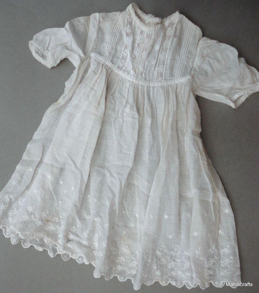 Baby #Christening #Dress White Faille Pintuck Newborn 1940s Bear Reborn Doll AS IS