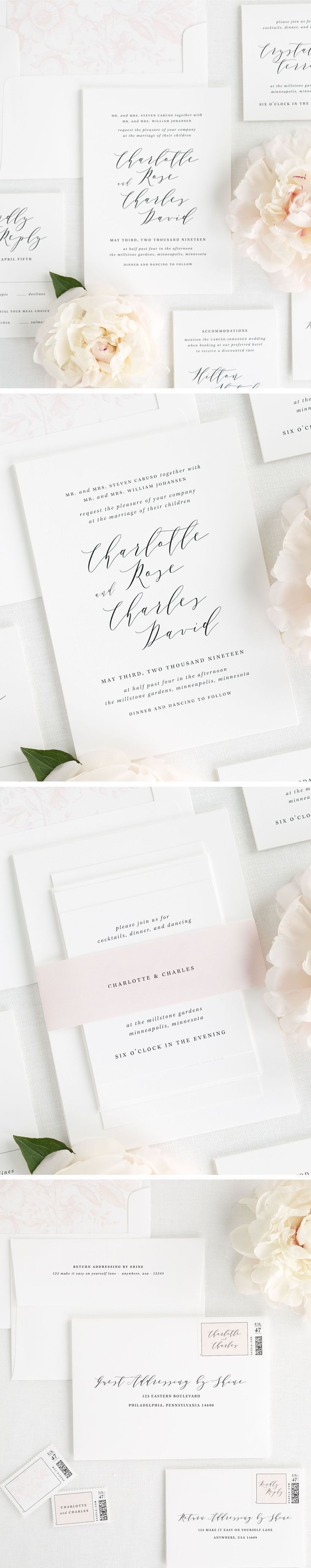 Charlotte Wedding Invitations | Modern calligraphy, Classic weddings ...