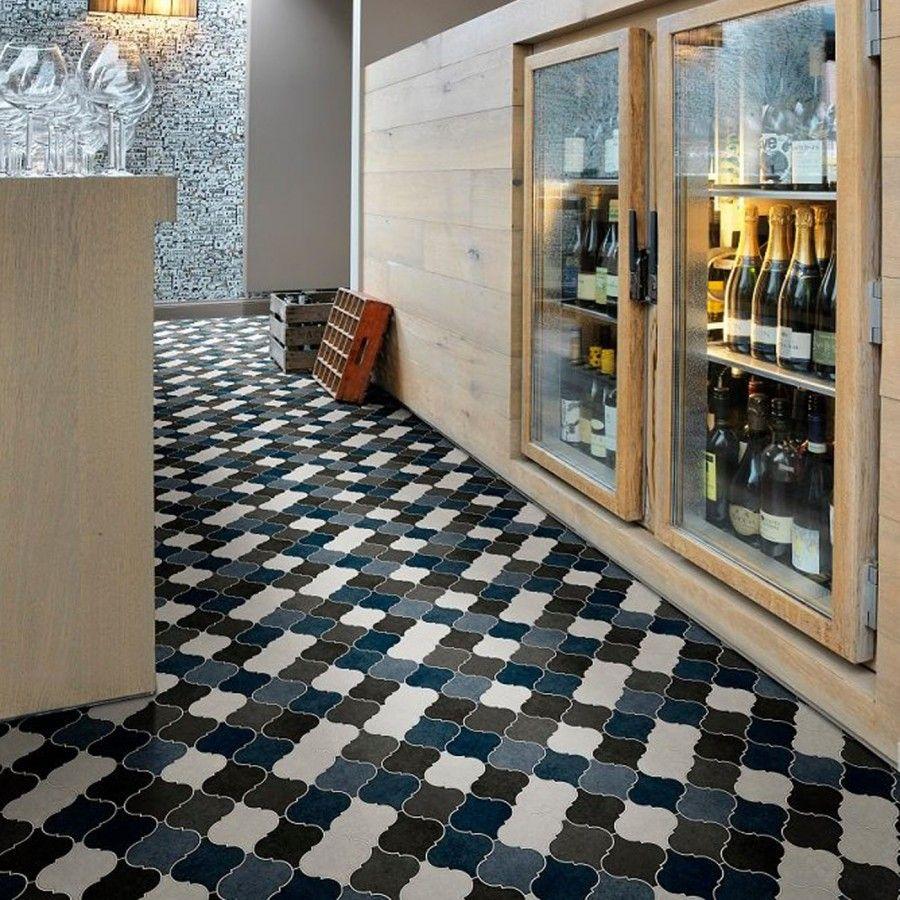 979D Designer Tile Effect Non Slip Vinyl Flooring