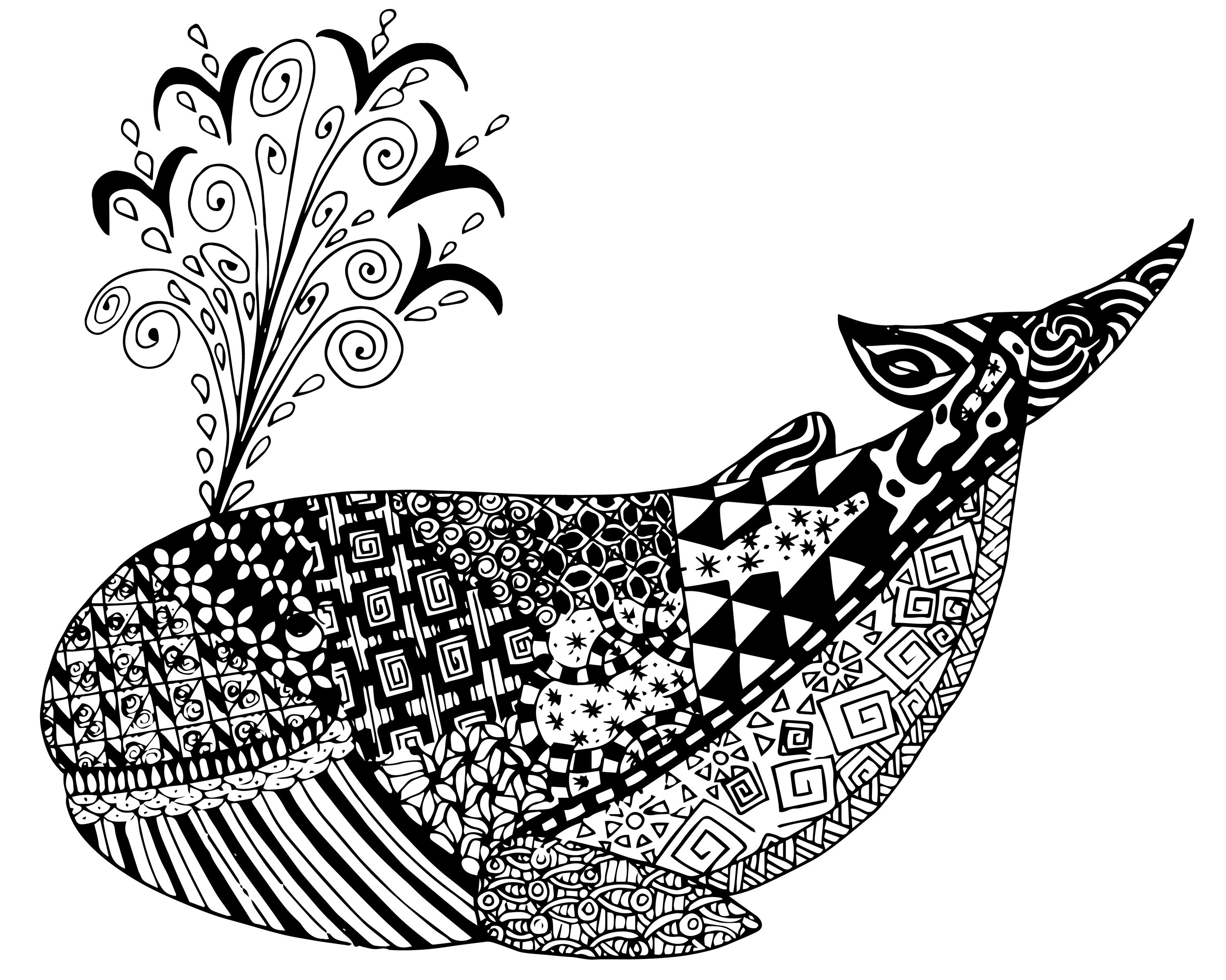 Free whale zen tangles adult coloring page free for Free printable zen coloring pages