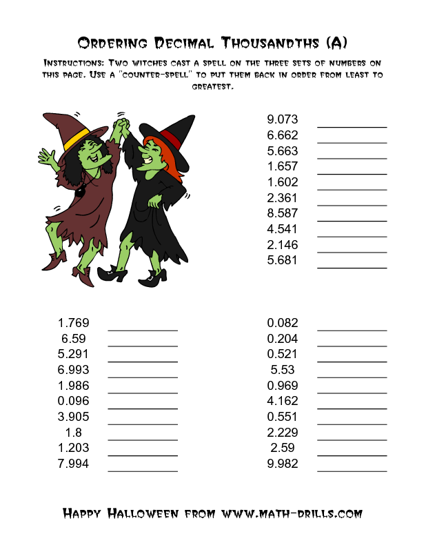 Witches Ordering Decimal Thousandths A Halloween Math Worksheet Halloween Math Worksheets Halloween Math Math Worksheets