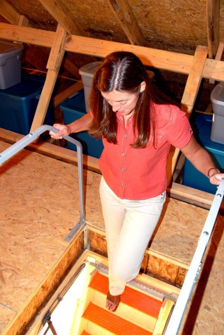 Attic ladder safety rail versa lift versaliftsystems