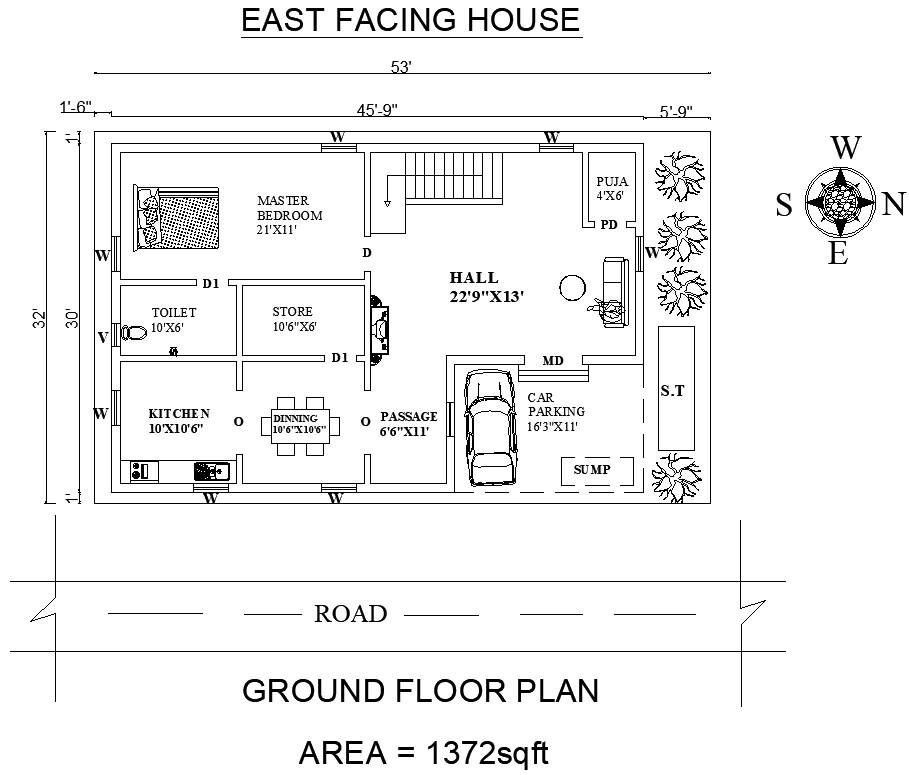 East Facing House Plan as per Vastu Shastra in 2020 ...
