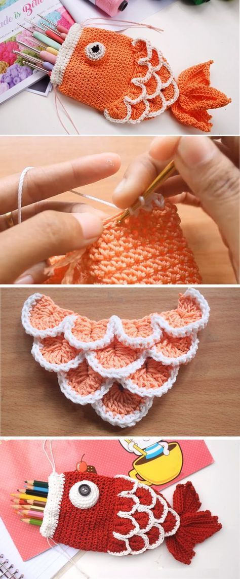 Crochet Drawstring Fish Pouch
