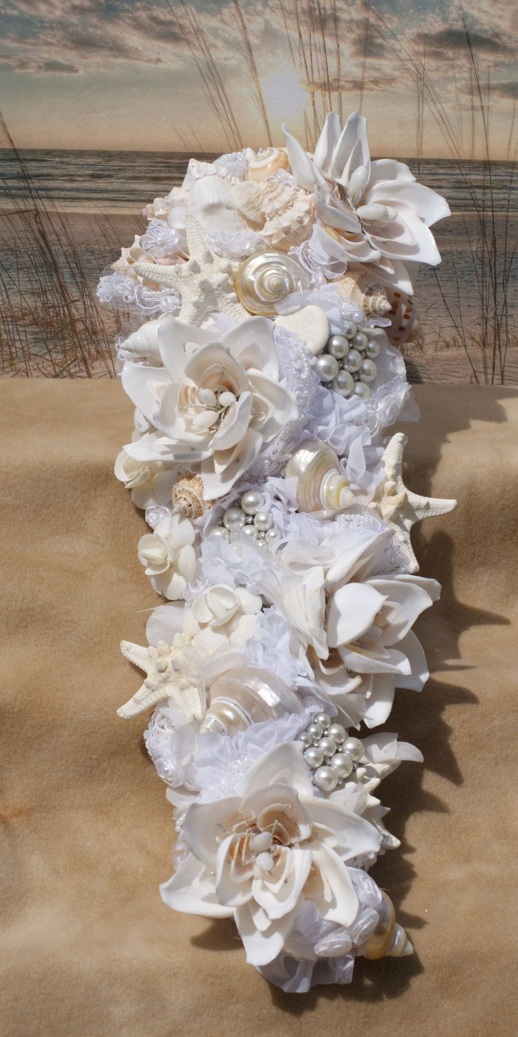 aqua and coral handmade seashell flower cascading seashell bouquet