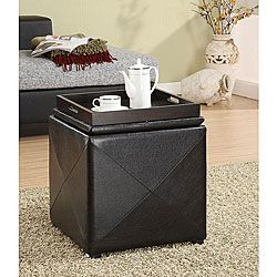 Chocolate Faux Leather Storage Cube with Wood Serving Tray - Overstock™ Shopping - Great Deals on Domusindo Ottomans