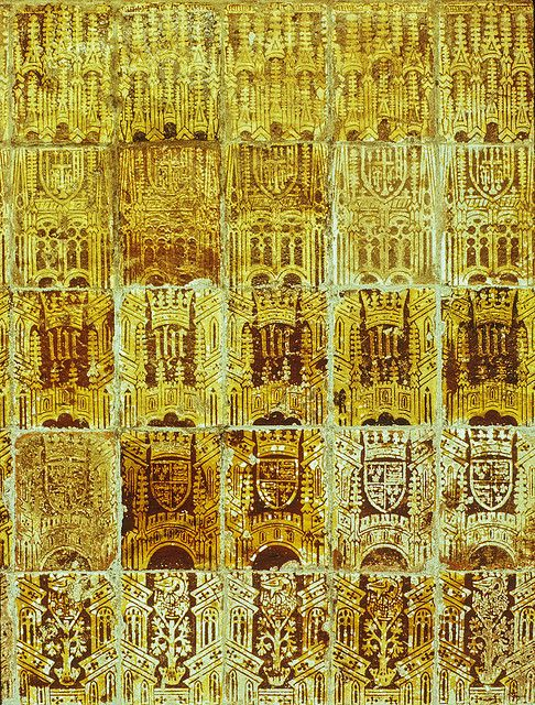 Great Malvery Priory, Medieval wall tiles on screen wall of chancel ...