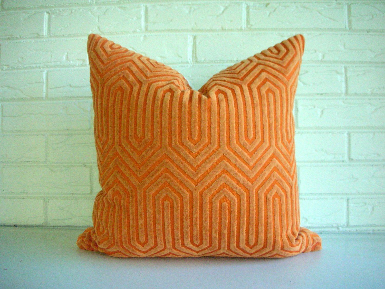 Pumpkin Orange Velvet Throw Pillow Cover Geometric - Vintage ...