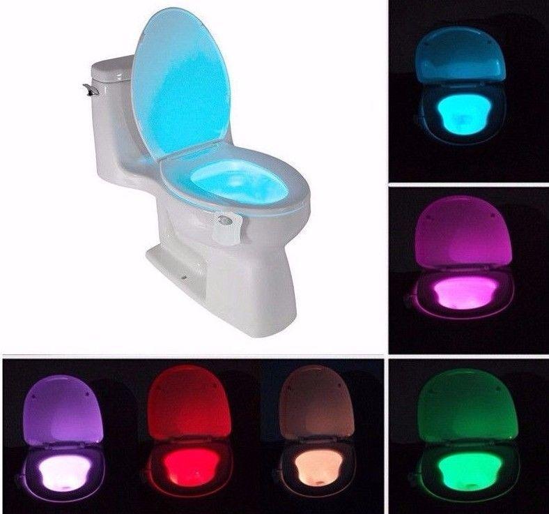 Sensor de Movimiento con Luz LED Para Inodoro de Baño 8 Colores ...