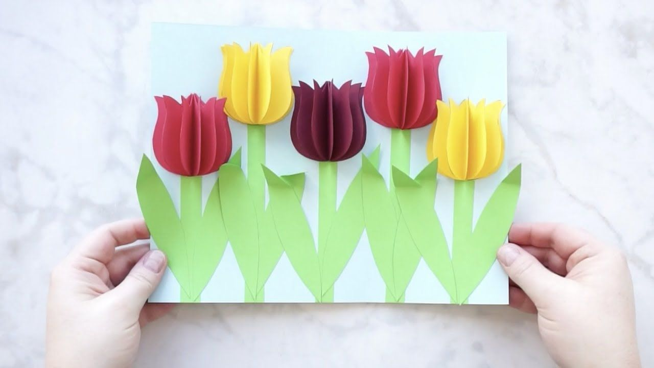 Gorgeous 3d Paper Tulip Flower Craft Flower Crafts Flower Making Crafts Spring Flower Crafts