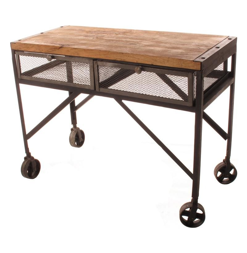 Console Table With Industrial Wheels | Tribeca Industrial Mesh Drawer  Caster Wheel Console Table