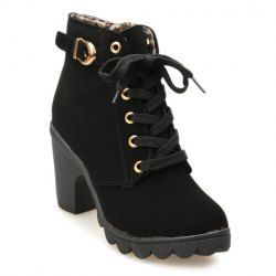 Chunky Heel Side Zip Ankle Boots