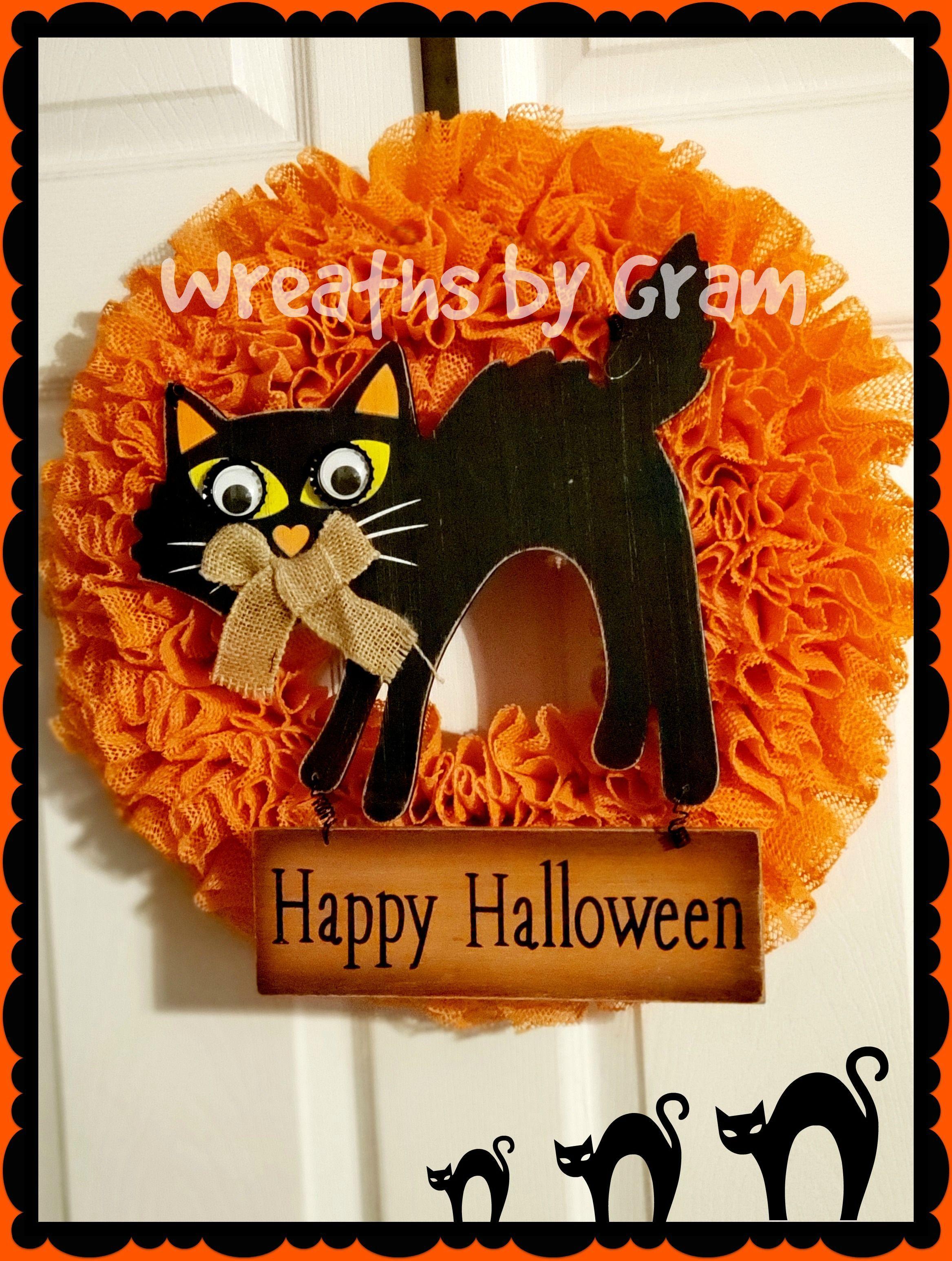 Halloween Wreath For Front Door Orange Happy Halloween Signs Cute Halloween Decorations O Halloween Black Cat Decorations Happy Halloween Signs Black Cat Decor